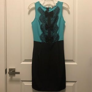 ModCloth Mystic Teal Black Bow Sleeveless Dress S